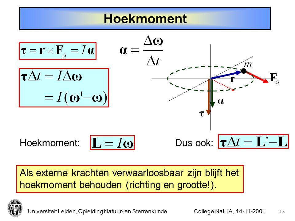 Universiteit Leiden, Opleiding Natuur- en Sterrenkunde11College Nat 1A, 14-11-2001 Elastische botsing Eén voorwerp in rust: v 2 = 0   (botsing op één lijn) Algemeen: