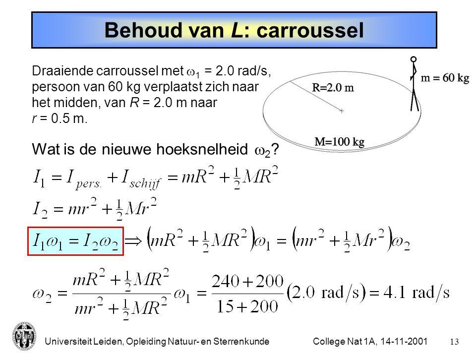 Universiteit Leiden, Opleiding Natuur- en Sterrenkunde12College Nat 1A, 14-11-2001 Hoekmoment Hoekmoment:Dus ook: Als externe krachten verwaarloosbaar zijn blijft het hoekmoment behouden (richting en grootte!).