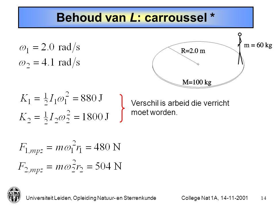 Universiteit Leiden, Opleiding Natuur- en Sterrenkunde13College Nat 1A, 14-11-2001 Behoud van L: carroussel Draaiende carroussel met  1 = 2.0 rad/s, persoon van 60 kg verplaatst zich naar het midden, van R = 2.0 m naar r = 0.5 m.