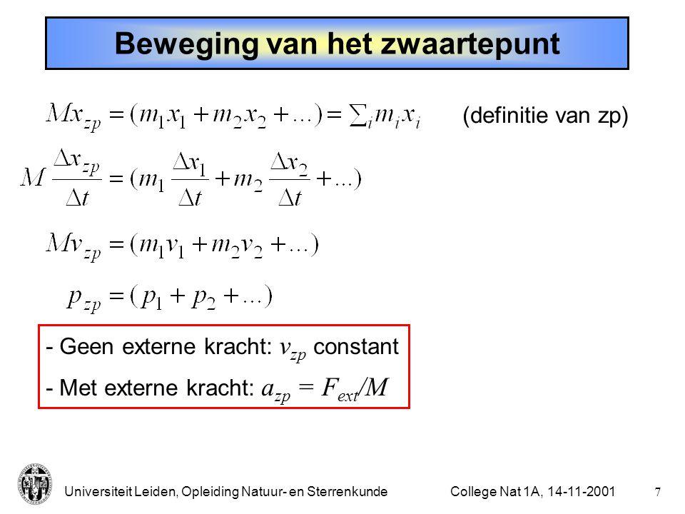 Universiteit Leiden, Opleiding Natuur- en Sterrenkunde6College Nat 1A, 14-11-2001 Impulsbehoud - voorbeeld Karretje: rijdt wrijvingsloos,horizontaal, in rechte lijn.