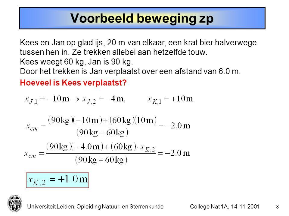 Universiteit Leiden, Opleiding Natuur- en Sterrenkunde7College Nat 1A, 14-11-2001 Beweging van het zwaartepunt - Geen externe kracht: v zp constant - Met externe kracht: a zp = F ext /M (definitie van zp)