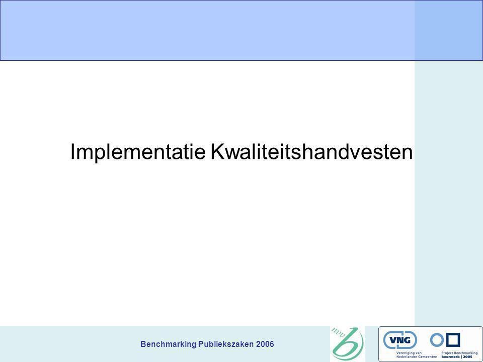 Benchmarking Publiekszaken 2006 Implementatie Kwaliteitshandvesten