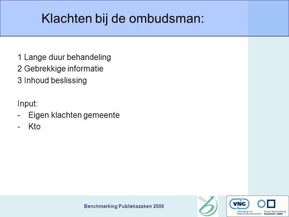 Benchmarking Publiekszaken 2006 Klachten bij de ombudsman: 1 Lange duur behandeling 2 Gebrekkige informatie 3 Inhoud beslissing Input: -Eigen klachten gemeente -Kto