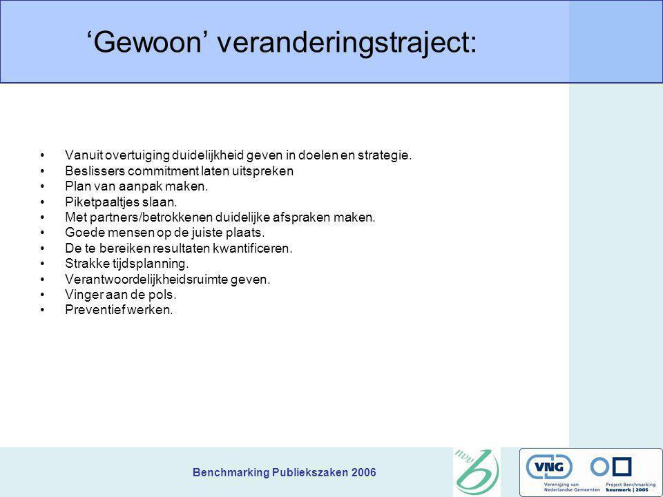 Benchmarking Publiekszaken 2006 'Gewoon' veranderingstraject: Vanuit overtuiging duidelijkheid geven in doelen en strategie. Beslissers commitment lat