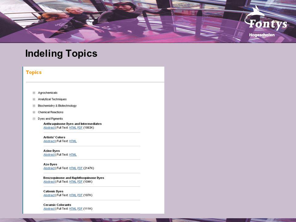 Indeling Topics