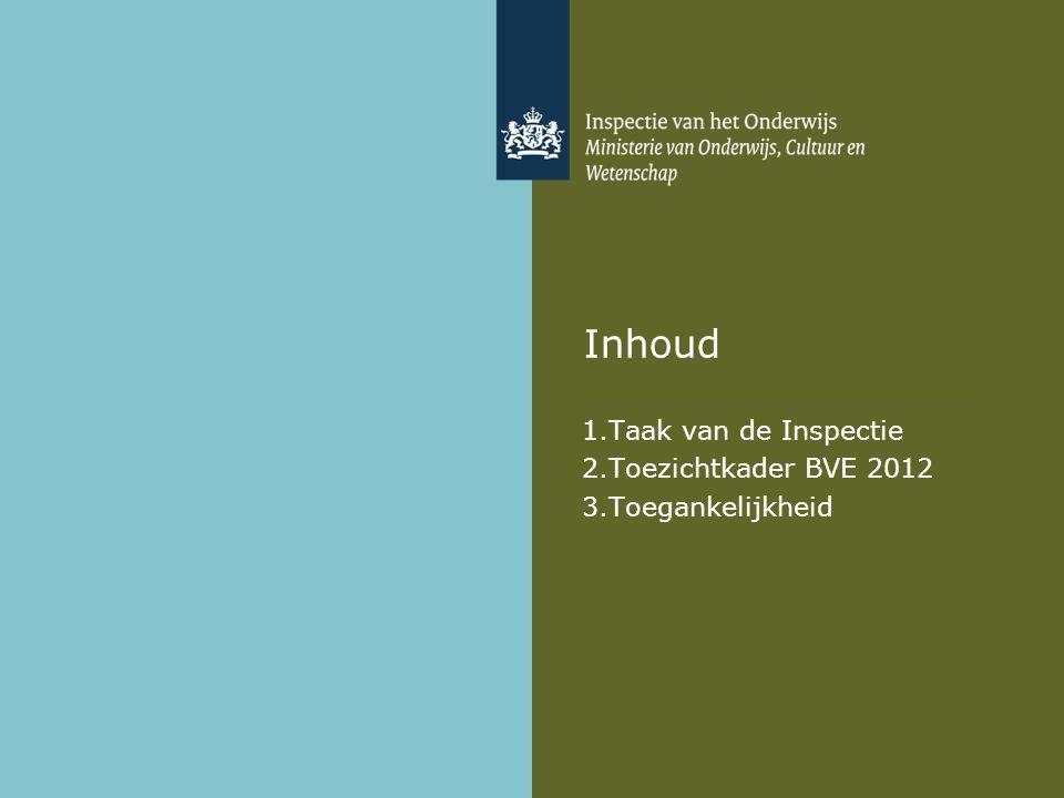 Inhoud 1.Taak van de Inspectie 2.Toezichtkader BVE 2012 3.Toegankelijkheid