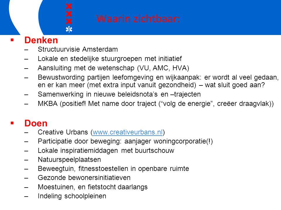 Waarin zichtbaar:  Denken –Structuurvisie Amsterdam –Lokale en stedelijke stuurgroepen met initiatief –Aansluiting met de wetenschap (VU, AMC, HVA) –