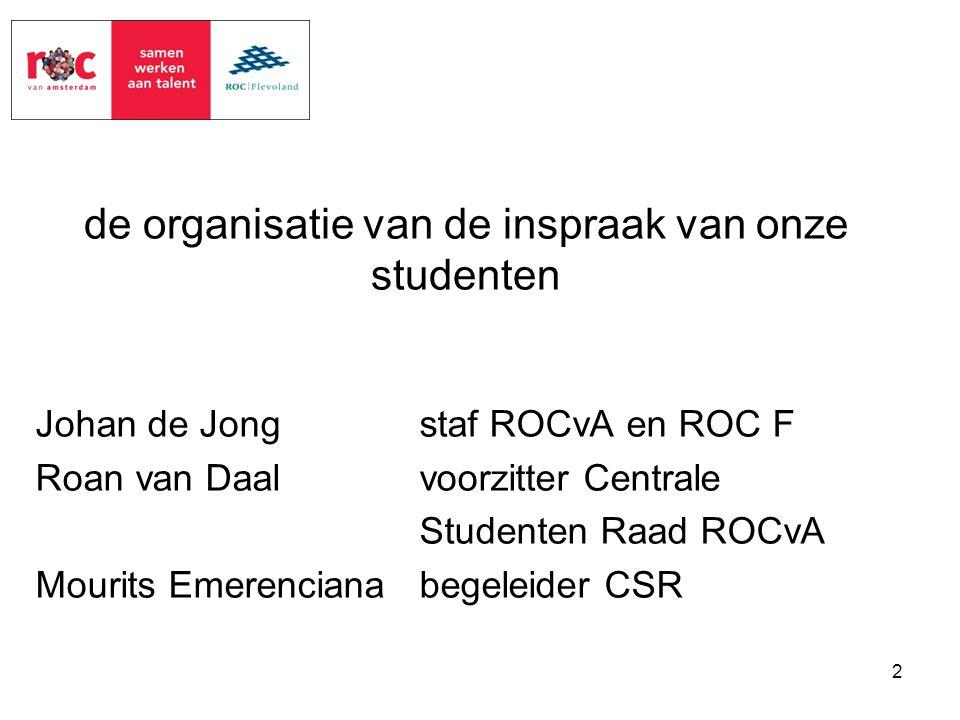 de organisatie van de inspraak van onze studenten Johan de Jongstaf ROCvA en ROC F Roan van Daalvoorzitter Centrale Studenten Raad ROCvA Mourits Emere