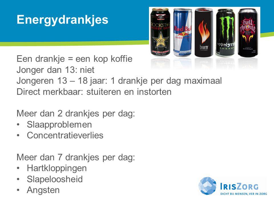 Energydrankjes Een drankje = een kop koffie Jonger dan 13: niet Jongeren 13 – 18 jaar: 1 drankje per dag maximaal Direct merkbaar: stuiteren en instor