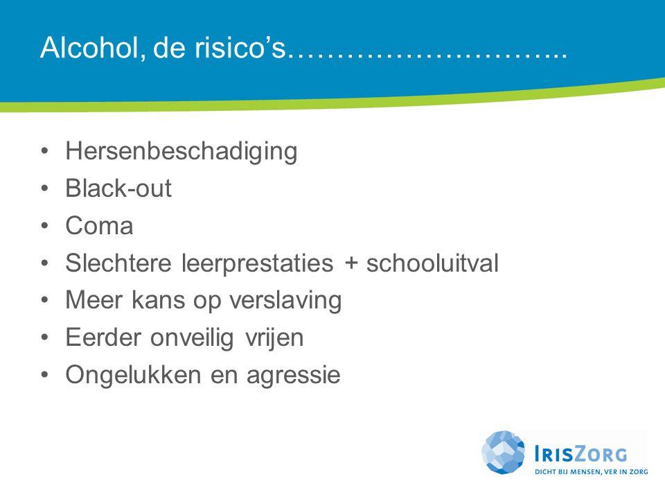 Alcohol, de risico's……………………….. Hersenbeschadiging Black-out Coma Slechtere leerprestaties + schooluitval Meer kans op verslaving Eerder onveilig vrij
