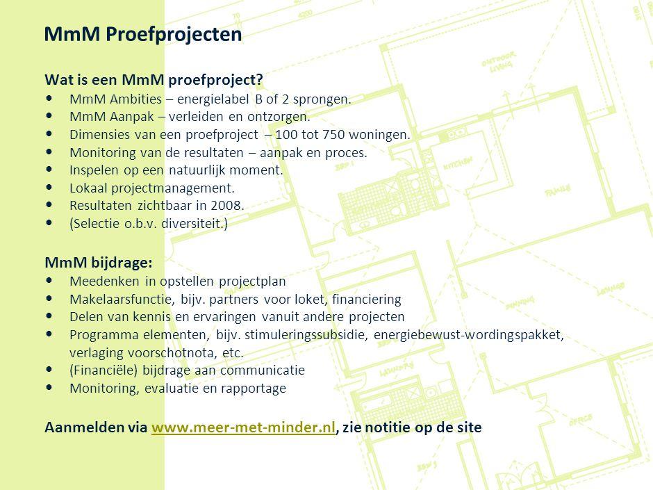 MmM Proefprojecten Wat is een MmM proefproject? MmM Ambities – energielabel B of 2 sprongen. MmM Aanpak – verleiden en ontzorgen. Dimensies van een pr
