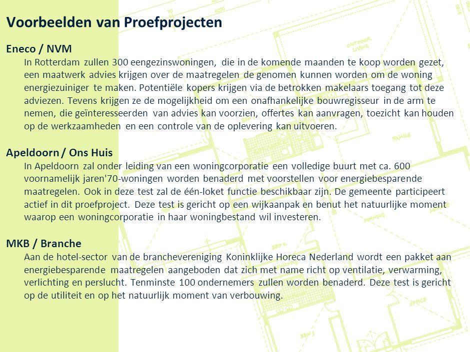 Voorbeelden van Proefprojecten Eneco / NVM In Rotterdam zullen 300 eengezinswoningen, die in de komende maanden te koop worden gezet, een maatwerk adv