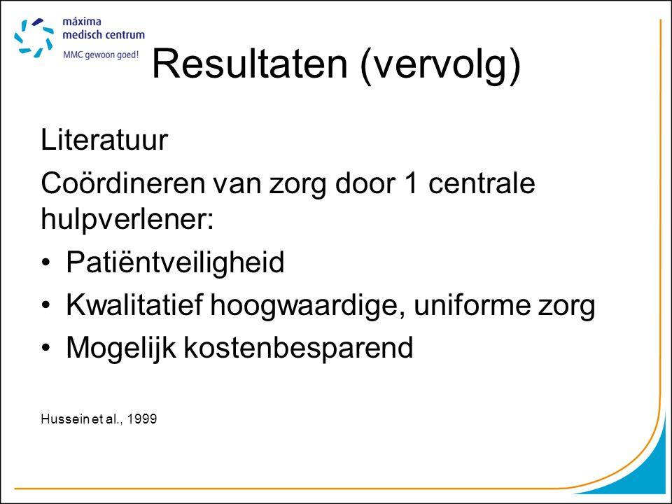 Resultaten (vervolg) Literatuur Coördineren van zorg door 1 centrale hulpverlener: Patiëntveiligheid Kwalitatief hoogwaardige, uniforme zorg Mogelijk