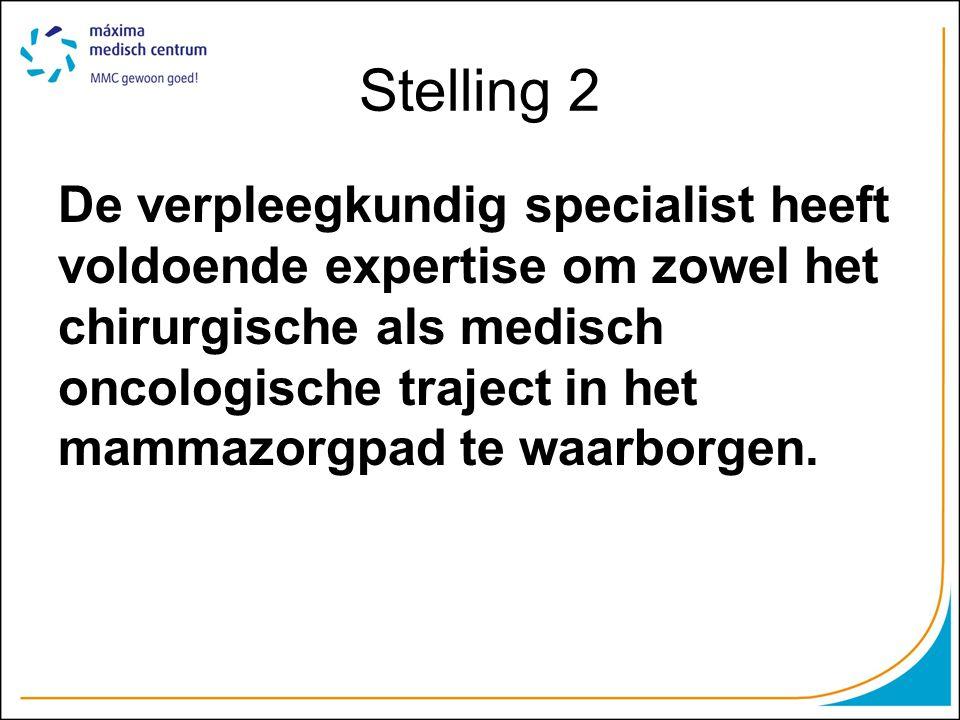 Stelling 2 De verpleegkundig specialist heeft voldoende expertise om zowel het chirurgische als medisch oncologische traject in het mammazorgpad te wa