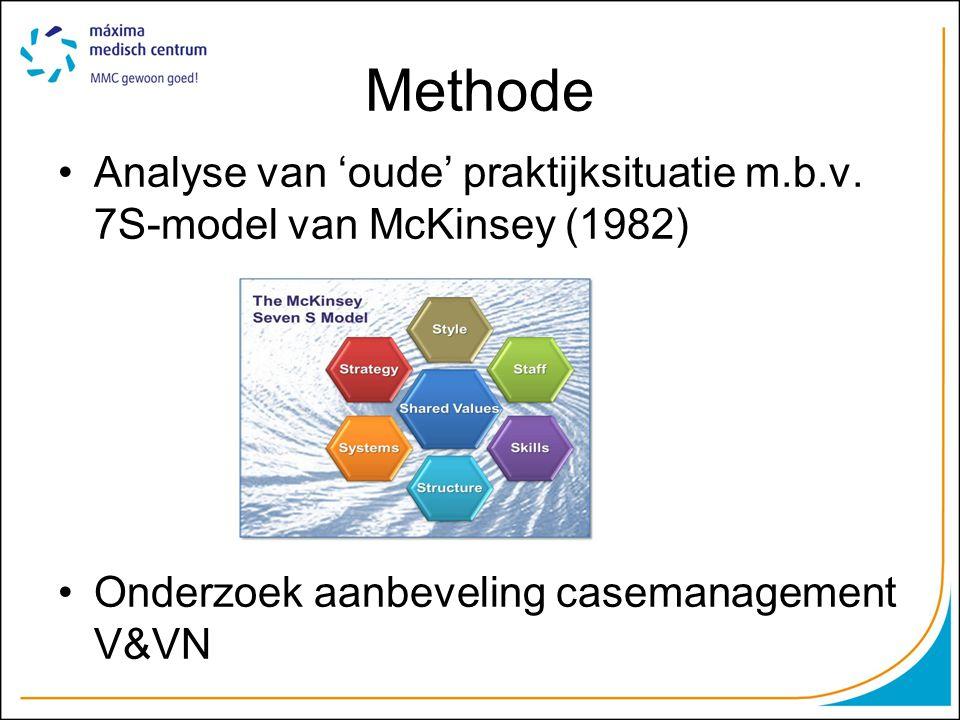 Methode Analyse van 'oude' praktijksituatie m.b.v. 7S-model van McKinsey (1982) Onderzoek aanbeveling casemanagement V&VN