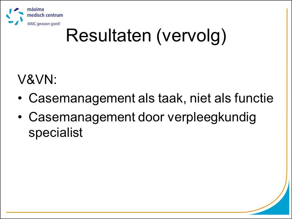 Resultaten (vervolg) V&VN: Casemanagement als taak, niet als functie Casemanagement door verpleegkundig specialist