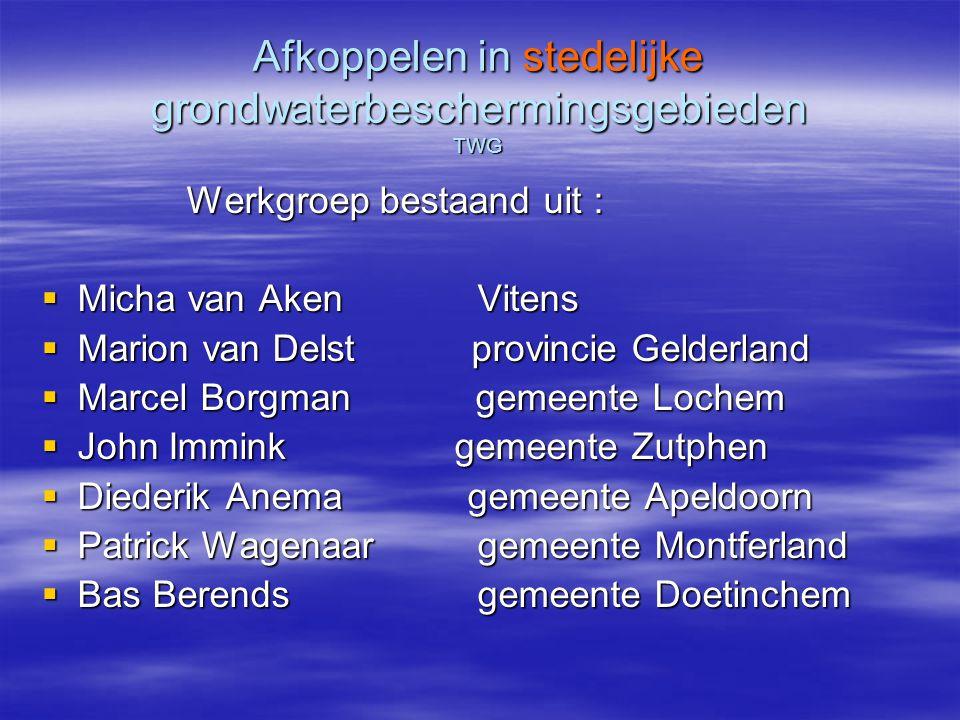 Afkoppelen in stedelijk grondwaterbeschermingsgebieden TWG  Brainstormsessie  Basis in werkgroep Lochem van 2006/2007, incl.