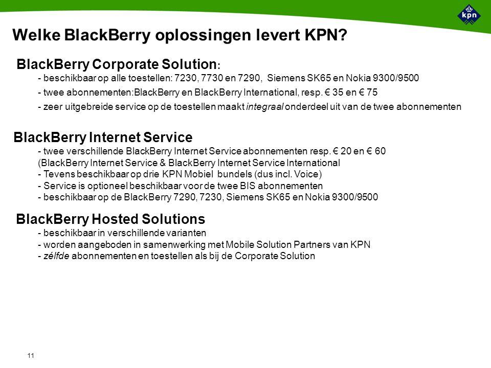 11 Welke BlackBerry oplossingen levert KPN.