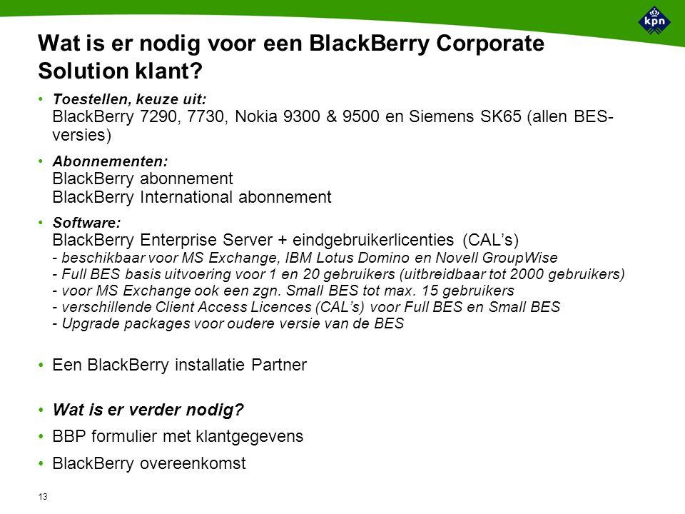 13 Wat is er nodig voor een BlackBerry Corporate Solution klant.