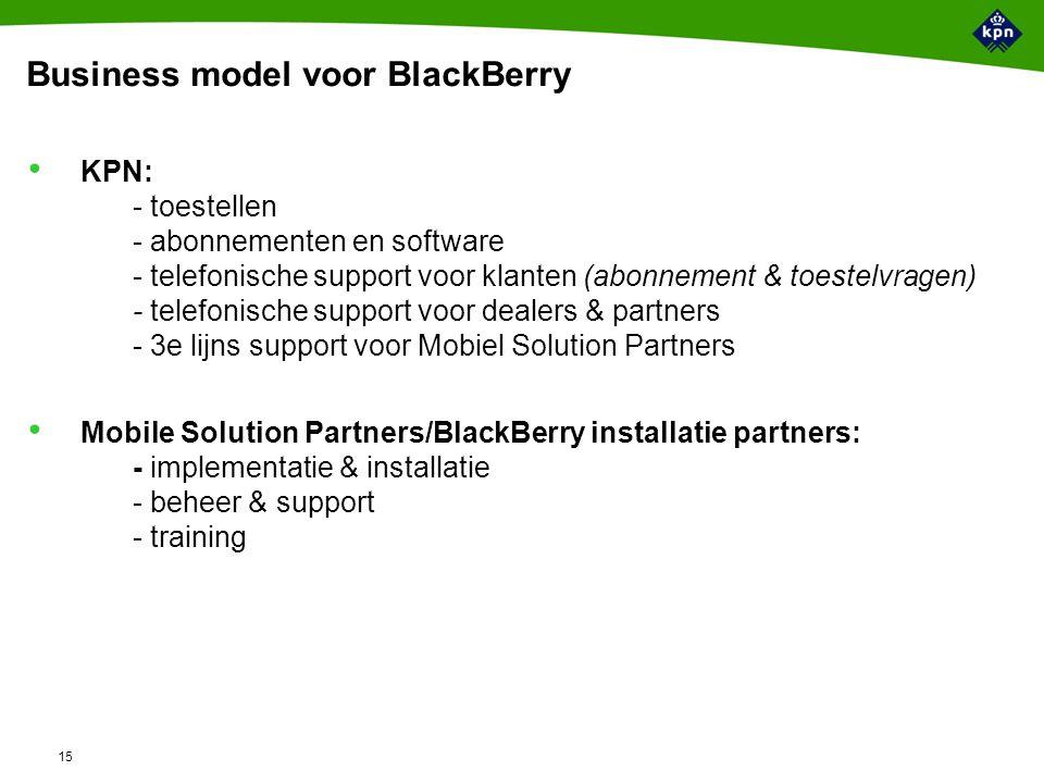 15 Business model voor BlackBerry KPN: - toestellen - abonnementen en software - telefonische support voor klanten (abonnement & toestelvragen) - telefonische support voor dealers & partners - 3e lijns support voor Mobiel Solution Partners Mobile Solution Partners/BlackBerry installatie partners: - implementatie & installatie - beheer & support - training