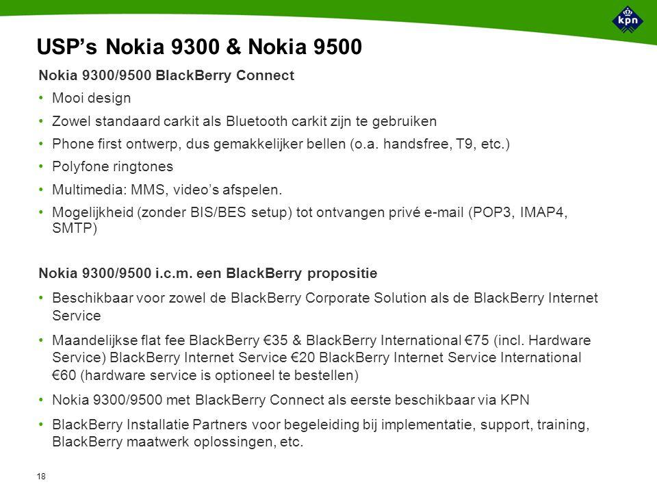 18 USP's Nokia 9300 & Nokia 9500 Nokia 9300/9500 BlackBerry Connect Mooi design Zowel standaard carkit als Bluetooth carkit zijn te gebruiken Phone first ontwerp, dus gemakkelijker bellen (o.a.