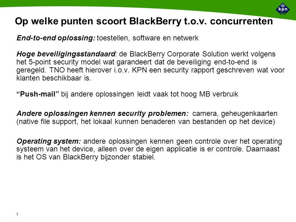 7 Op welke punten scoort BlackBerry t.o.v.