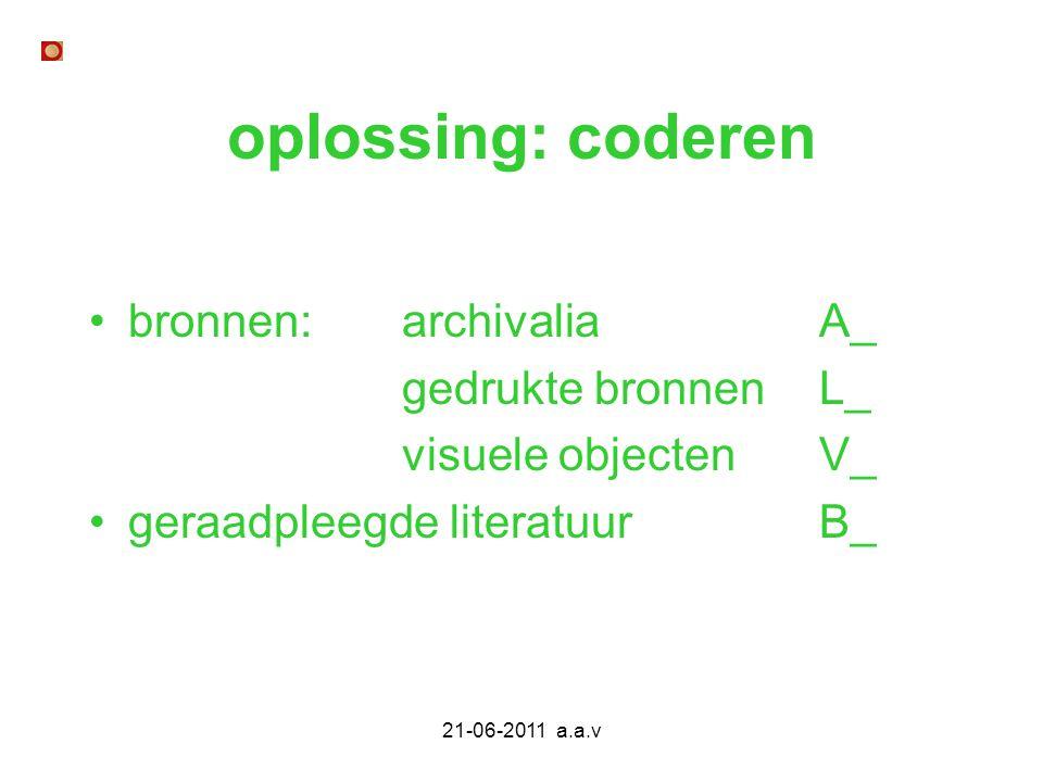 21-06-2011 a.a.v oplossing: coderen bronnen: archivaliaA_ gedrukte bronnenL_ visuele objecten V_ geraadpleegde literatuur B_