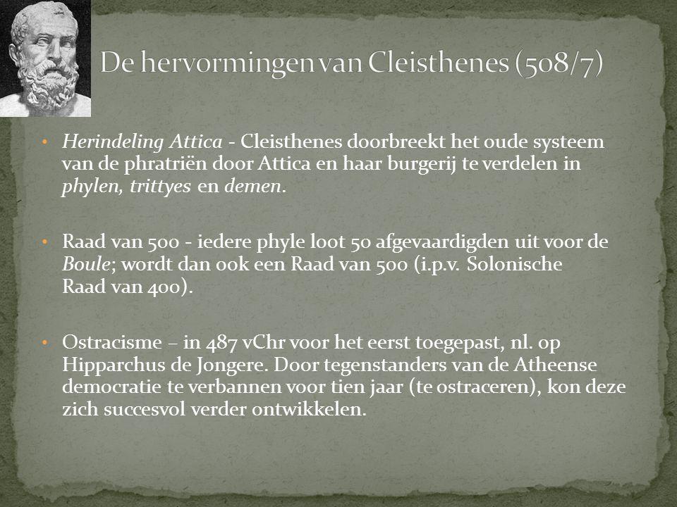 Herindeling Attica - Cleisthenes doorbreekt het oude systeem van de phratriën door Attica en haar burgerij te verdelen in phylen, trittyes en demen. R
