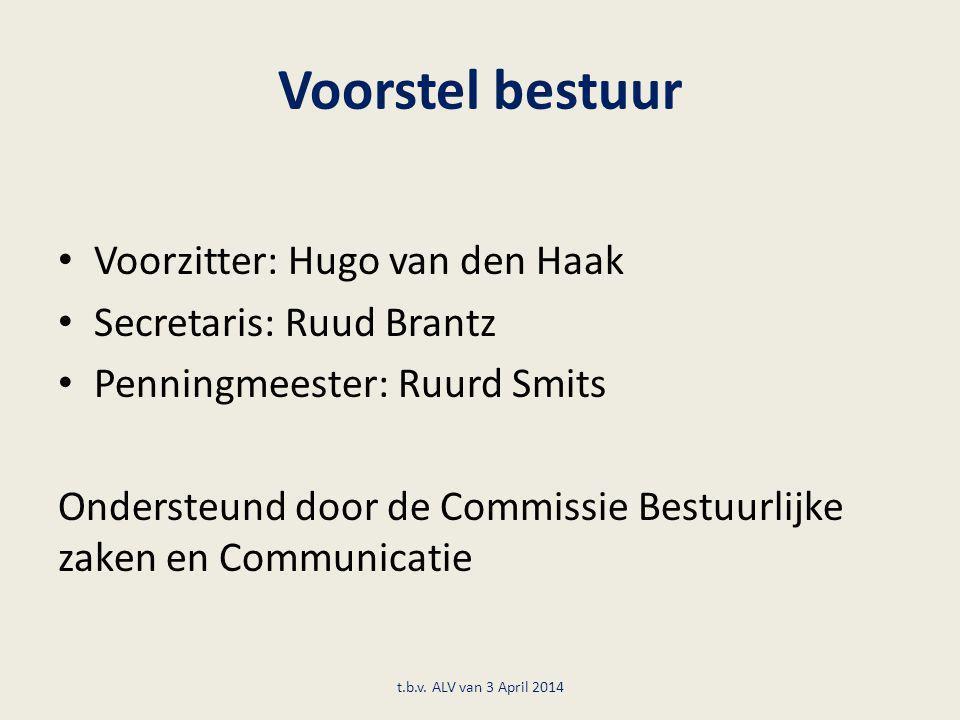 Voorstel bestuur Voorzitter: Hugo van den Haak Secretaris: Ruud Brantz Penningmeester: Ruurd Smits Ondersteund door de Commissie Bestuurlijke zaken en