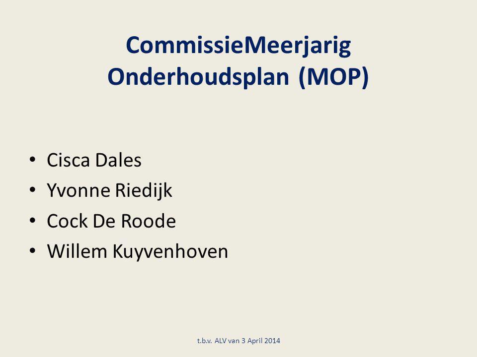 CommissieMeerjarig Onderhoudsplan (MOP) Cisca Dales Yvonne Riedijk Cock De Roode Willem Kuyvenhoven t.b.v. ALV van 3 April 2014