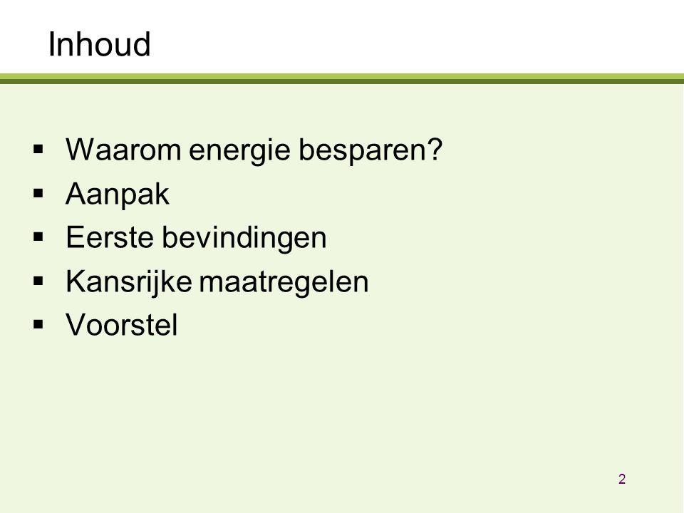 Inhoud  Waarom energie besparen?  Aanpak  Eerste bevindingen  Kansrijke maatregelen  Voorstel 2