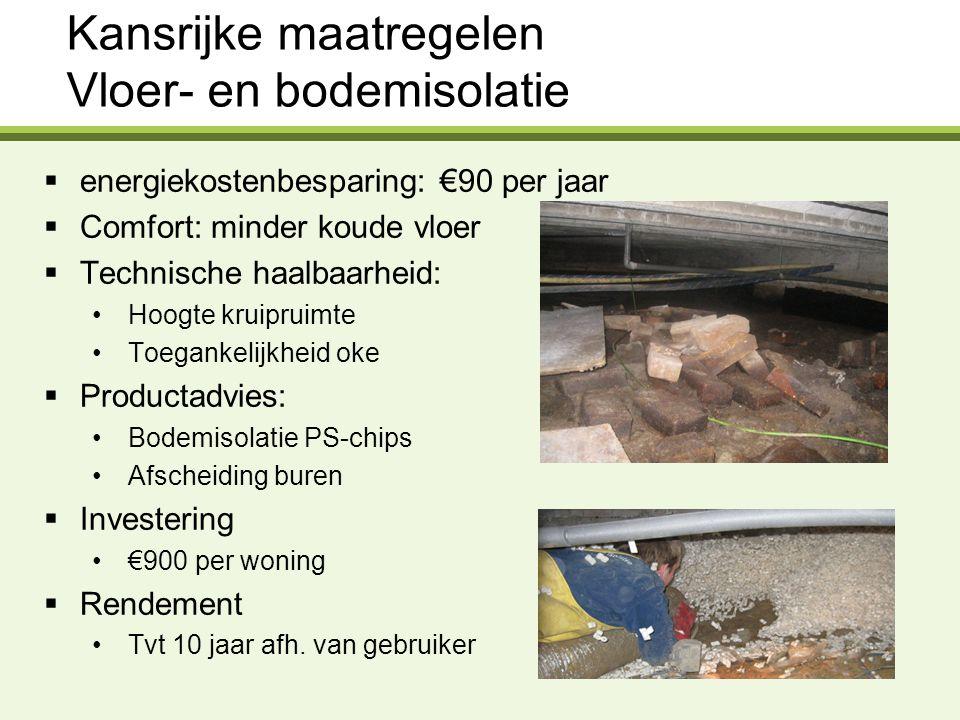 Kansrijke maatregelen Vloer- en bodemisolatie  energiekostenbesparing: €90 per jaar  Comfort: minder koude vloer  Technische haalbaarheid: Hoogte k