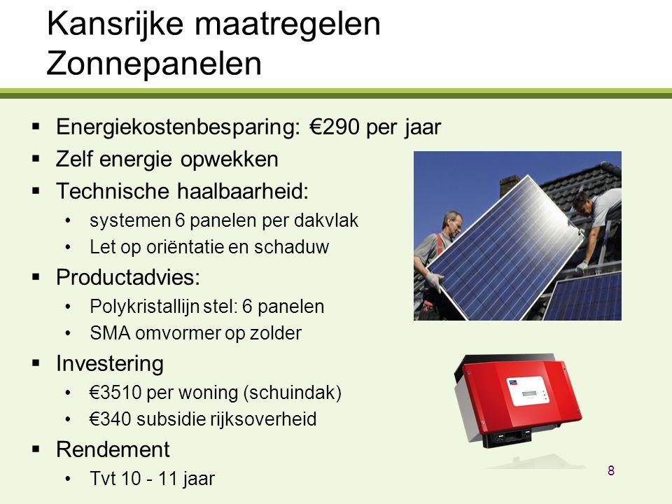Kansrijke maatregelen Zonnepanelen  Energiekostenbesparing: €290 per jaar  Zelf energie opwekken  Technische haalbaarheid: systemen 6 panelen per dakvlak Let op oriëntatie en schaduw  Productadvies: Polykristallijn stel: 6 panelen SMA omvormer op zolder  Investering €3510 per woning (schuindak) €340 subsidie rijksoverheid  Rendement Tvt 10 - 11 jaar 8