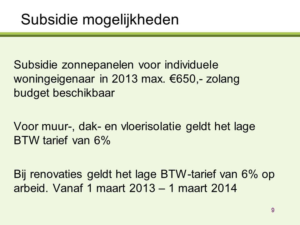 Subsidie mogelijkheden Subsidie zonnepanelen voor individuele woningeigenaar in 2013 max. €650,- zolang budget beschikbaar Voor muur-, dak- en vloeris