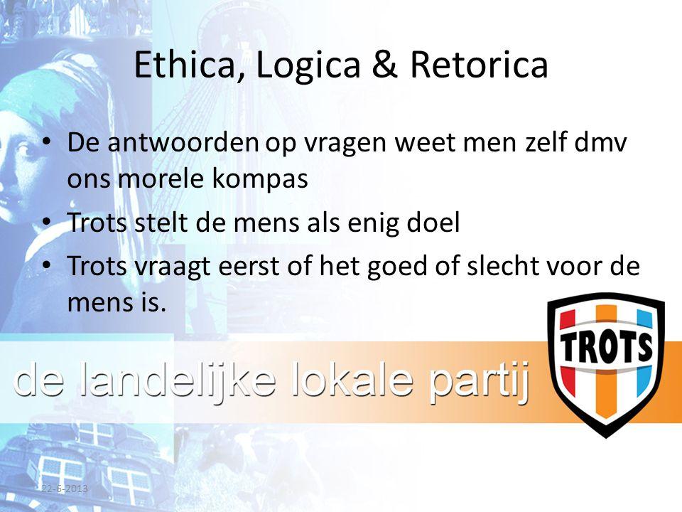 Ethica, Logica & Retorica De antwoorden op vragen weet men zelf dmv ons morele kompas Trots stelt de mens als enig doel Trots vraagt eerst of het goed