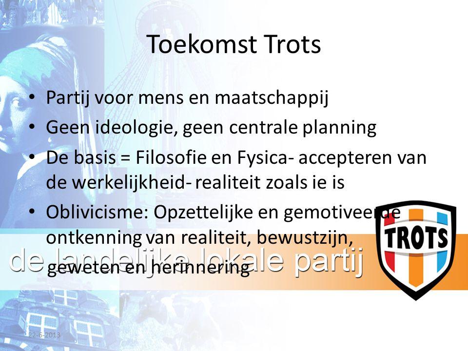 Toekomst Trots Partij voor mens en maatschappij Geen ideologie, geen centrale planning De basis = Filosofie en Fysica- accepteren van de werkelijkheid