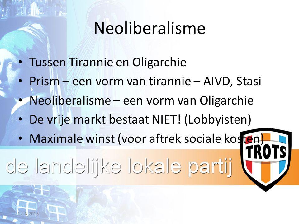 Neoliberalisme Tussen Tirannie en Oligarchie Prism – een vorm van tirannie – AIVD, Stasi Neoliberalisme – een vorm van Oligarchie De vrije markt bestaat NIET.