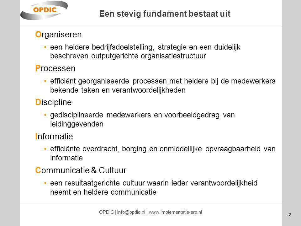 - 2 - OPDIC | info@opdic.nl | www.implementatie-erp.nl Een stevig fundament bestaat uit Organiseren een heldere bedrijfsdoelstelling, strategie en een duidelijk beschreven outputgerichte organisatiestructuur Processen efficiënt georganiseerde processen met heldere bij de medewerkers bekende taken en verantwoordelijkheden Discipline gedisciplineerde medewerkers en voorbeeldgedrag van leidinggevenden Informatie efficiënte overdracht, borging en onmiddellijke opvraagbaarheid van informatie Communicatie & Cultuur een resultaatgerichte cultuur waarin ieder verantwoordelijkheid neemt en heldere communicatie