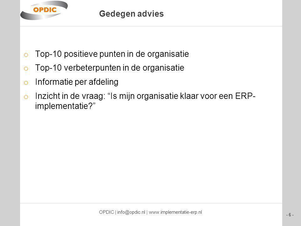 - 6 - OPDIC | info@opdic.nl | www.implementatie-erp.nl Gedegen advies o Top-10 positieve punten in de organisatie o Top-10 verbeterpunten in de organisatie o Informatie per afdeling o Inzicht in de vraag: Is mijn organisatie klaar voor een ERP- implementatie