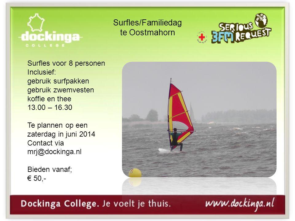 Surfles/Familiedag te Oostmahorn Surfles voor 8 personen Inclusief: gebruik surfpakken gebruik zwemvesten koffie en thee 13.00 – 16.30 Te plannen op een zaterdag in juni 2014 Contact via mrj@dockinga.nl Bieden vanaf; € 50,-