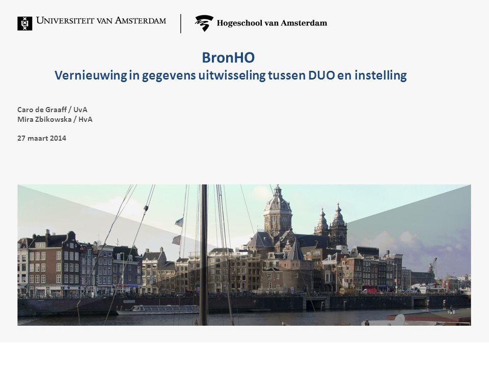 BronHO Nieuwe gegevens uitwisseling tussen DUO en instelling.