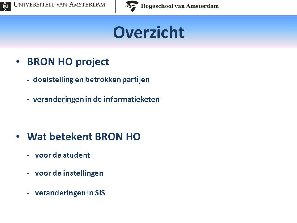 Overzicht BRON HO project - doelstelling en betrokken partijen - veranderingen in de informatieketen Wat betekent BRON HO - voor de student - voor de instellingen - veranderingen in SIS