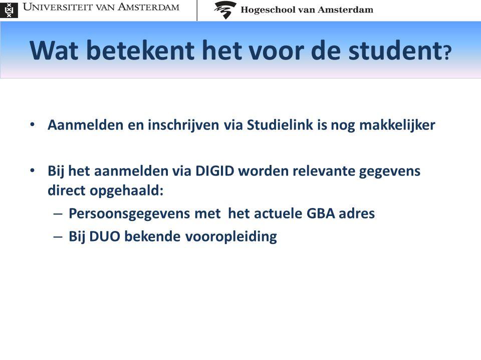 Wat betekent het voor de student .