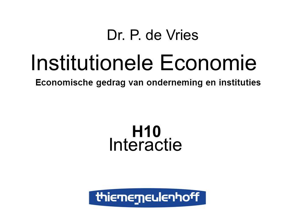 H10 Interactie Institutionele Economie Economische gedrag van onderneming en instituties Dr. P. de Vries