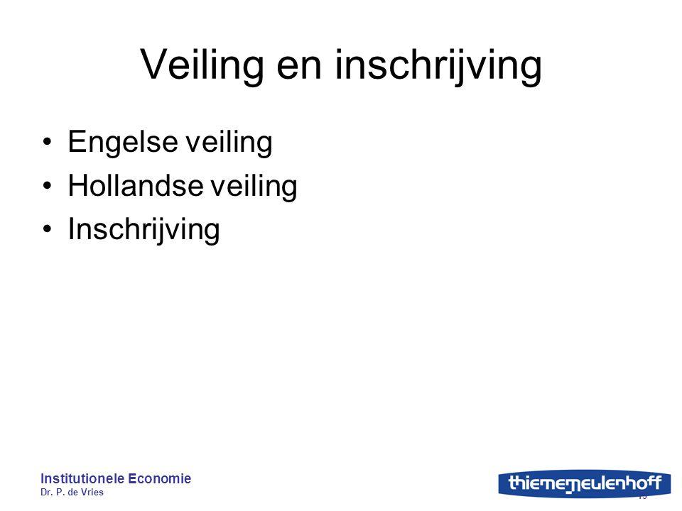 Institutionele Economie Dr. P. de Vries 19 Veiling en inschrijving Engelse veiling Hollandse veiling Inschrijving