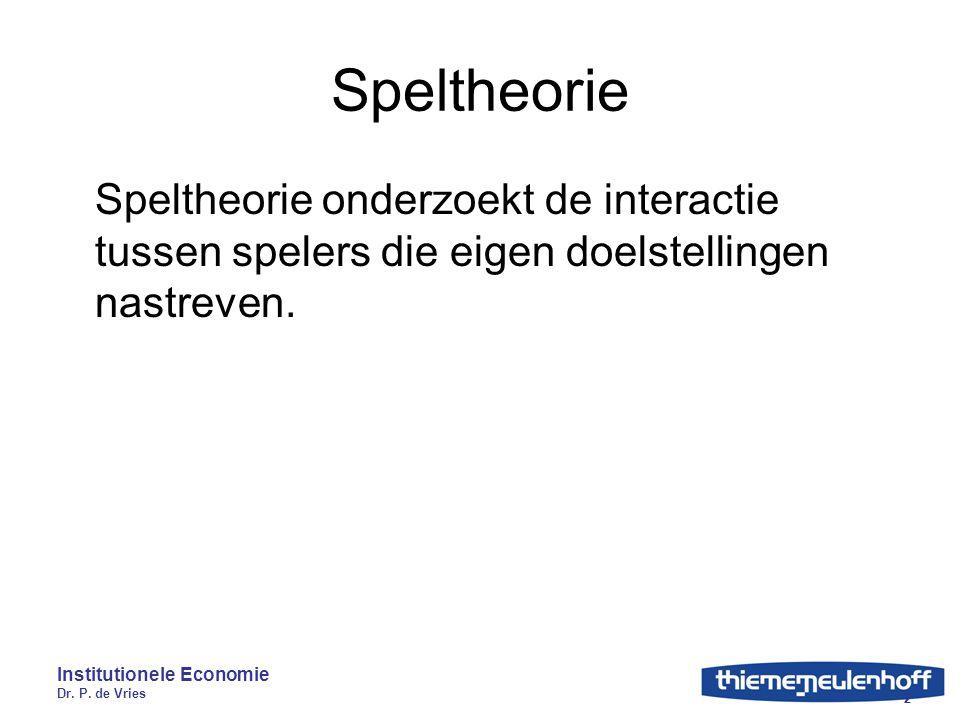 Institutionele Economie Dr. P. de Vries 2 Speltheorie Speltheorie onderzoekt de interactie tussen spelers die eigen doelstellingen nastreven.