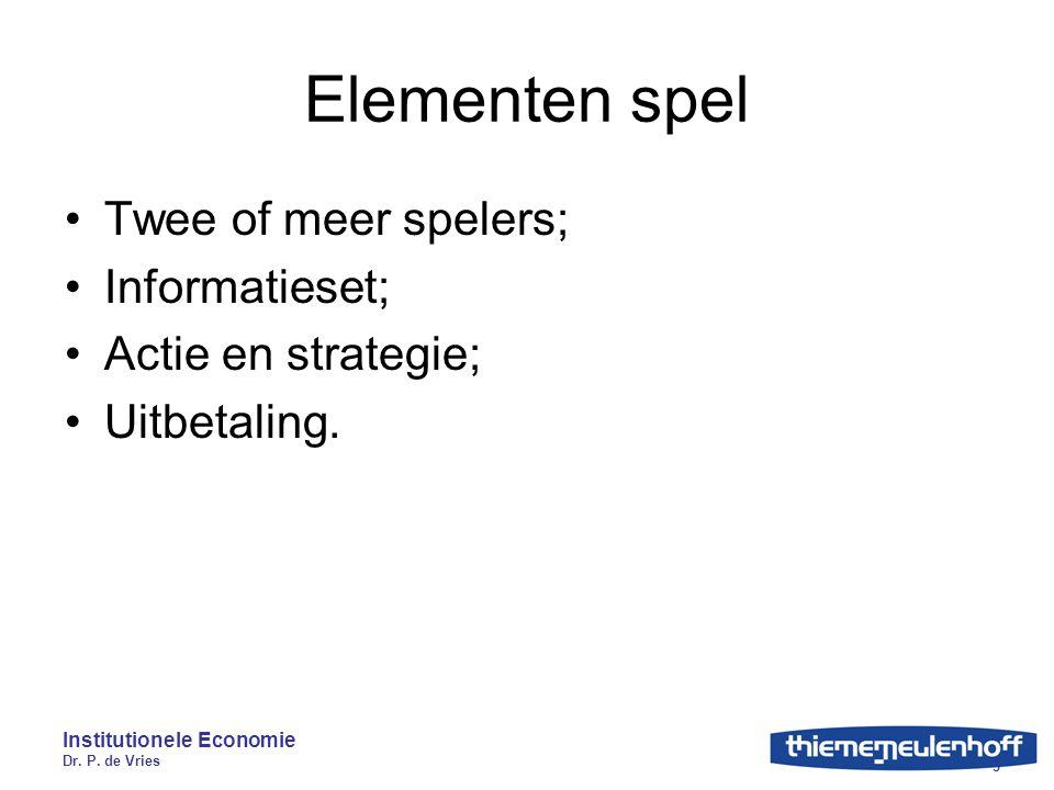Institutionele Economie Dr. P. de Vries 3 Elementen spel Twee of meer spelers; Informatieset; Actie en strategie; Uitbetaling.
