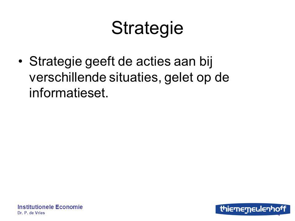 Institutionele Economie Dr. P. de Vries 4 Strategie Strategie geeft de acties aan bij verschillende situaties, gelet op de informatieset.