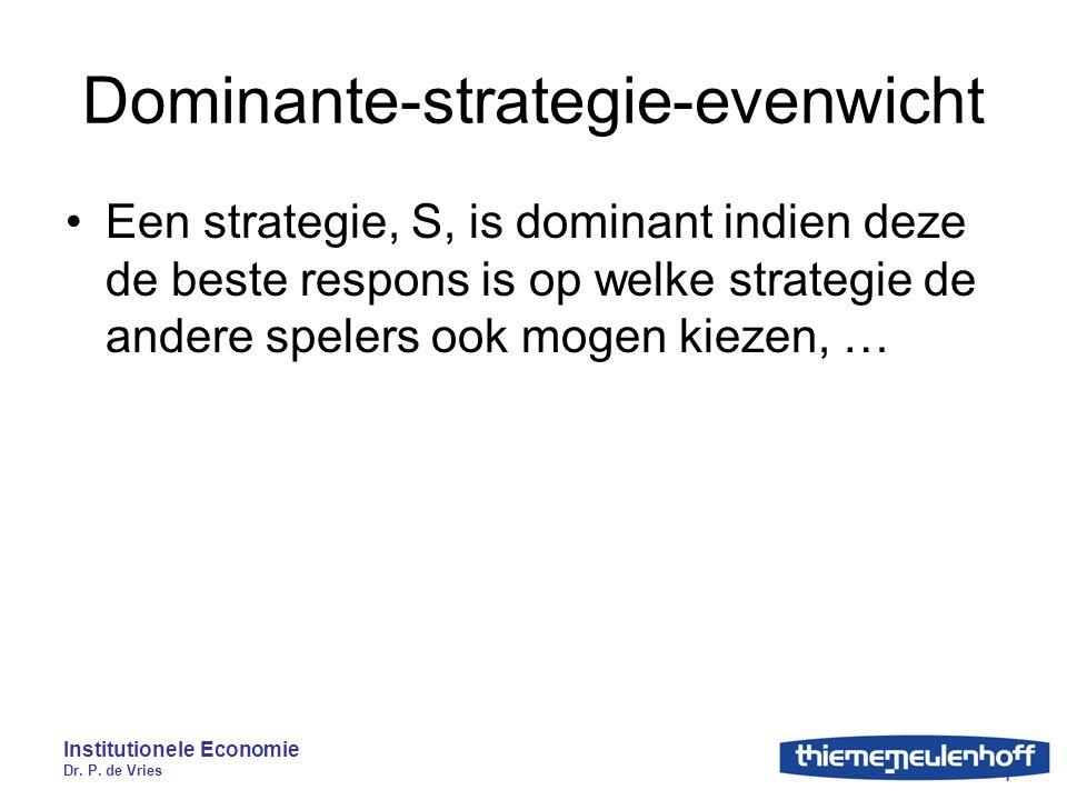 Institutionele Economie Dr. P. de Vries 7 Dominante-strategie-evenwicht Een strategie, S, is dominant indien deze de beste respons is op welke strateg