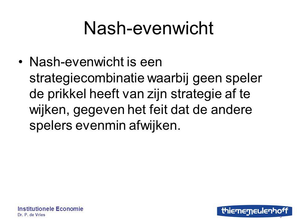 Institutionele Economie Dr. P. de Vries 9 Nash-evenwicht Nash-evenwicht is een strategiecombinatie waarbij geen speler de prikkel heeft van zijn strat